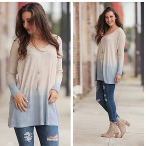 Infinity Raine Dip-dyed Waffle Thermal Tunic Top